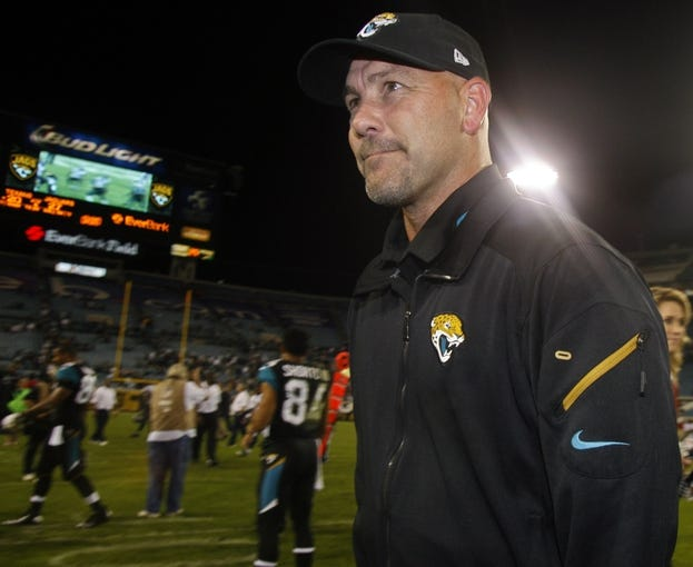 Dec 5, 2013; Jacksonville, FL, USA; Jacksonville Jaguars head coach Gus Bradley walks off the field after their game against the Houston Texans at EverBank Field. The Jacksonville Jaguars best the Houston Texans 27-20. Mandatory Credit: Phil Sears-USA TODAY Sports