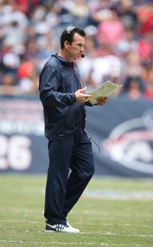 Dec 1, 2013; Houston, TX, USA; Houston Texans head coach Gary Kubiak on the sidelines during the game against the New England Patriots at Reliant Stadium. Mandatory Credit: Matthew Emmons-USA TODAY Sports