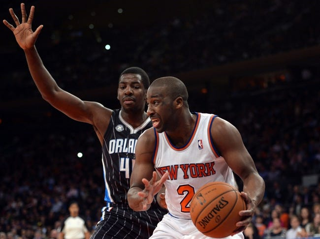 Dec 6, 2013; New York, NY, USA; New York Knicks point guard Raymond Felton (2) drives the lane against the Orlando Magic during the second half at Madison Square Garden. The Knicks won the game 121-83. Mandatory Credit: Joe Camporeale-USA TODAY Sports