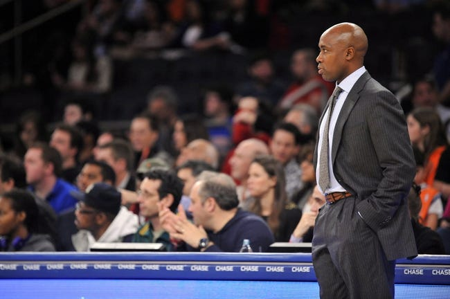 Dec 6, 2013; New York, NY, USA; Orlando Magic head coach Jacque Vaughn looks on against the New York Knicks during the first half at Madison Square Garden. The Knicks won the game 121-83. Mandatory Credit: Joe Camporeale-USA TODAY Sports