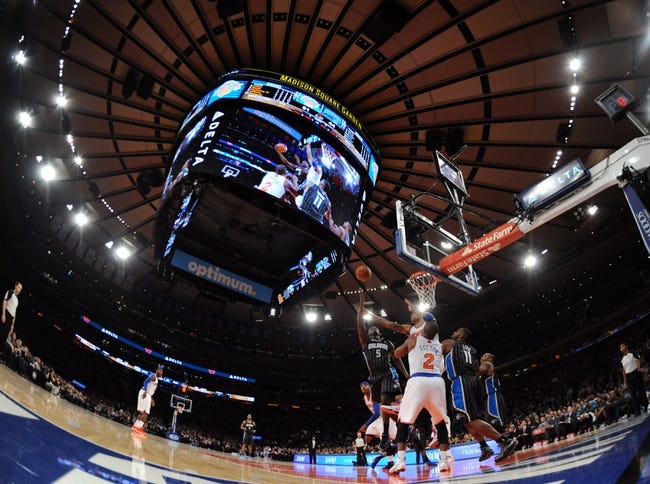 Dec 6, 2013; New York, NY, USA; Orlando Magic shooting guard Victor Oladipo (5) puts up a shot against the New York Knicks during the first half at Madison Square Garden. The Knicks won the game 121-83. Mandatory Credit: Joe Camporeale-USA TODAY Sports
