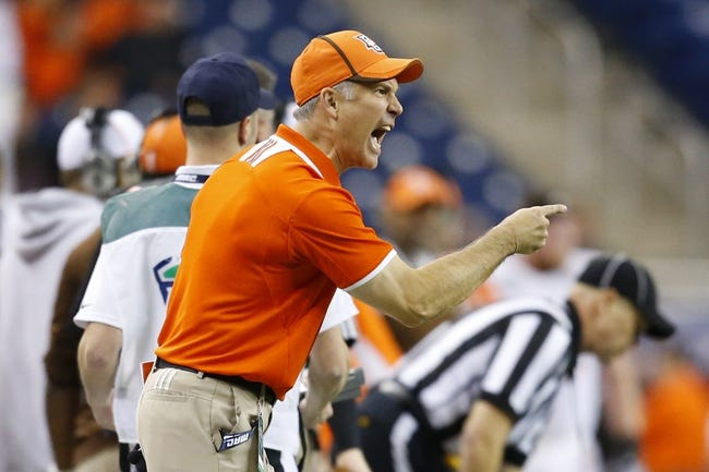 Dec 6, 2013; Detroit, MI, USA; Bowling Green Falcons head coach Dave Clawson reacts in the fourth quarter against the Northern Illinois Huskies at Ford Field. Bowling Green won 47-27. Mandatory Credit: Rick Osentoski-USA TODAY Sports