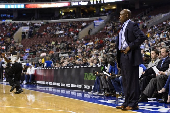 Dec 3, 2013; Philadelphia, PA, USA; Orlando Magic head coach Jacque Vaughn during the second quarter against the Philadelphia 76ers at the Wells Fargo Center. The Sixers defeated the Magic 126-125 in double overtime. Mandatory Credit: Howard Smith-USA TODAY Sports
