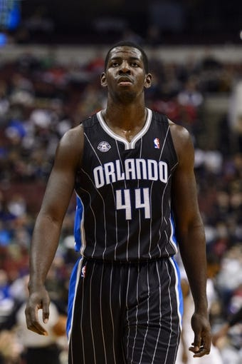 Dec 3, 2013; Philadelphia, PA, USA; Orlando Magic forward Andrew Nicholson (44) during the third quarter against the Philadelphia 76ers at the Wells Fargo Center. The Sixers defeated the Magic 126-125 in double overtime. Mandatory Credit: Howard Smith-USA TODAY Sports