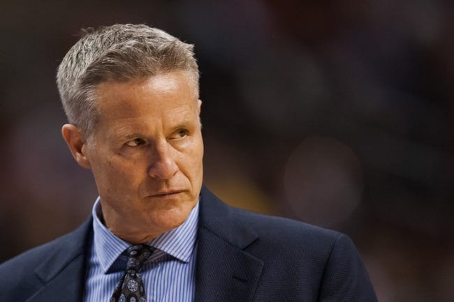Dec 3, 2013; Philadelphia, PA, USA; Philadelphia 76ers head coach Brett Brown during the third quarter against the Orlando Magic at the Wells Fargo Center. The Sixers defeated the Magic 126-125 in double overtime. Mandatory Credit: Howard Smith-USA TODAY Sports