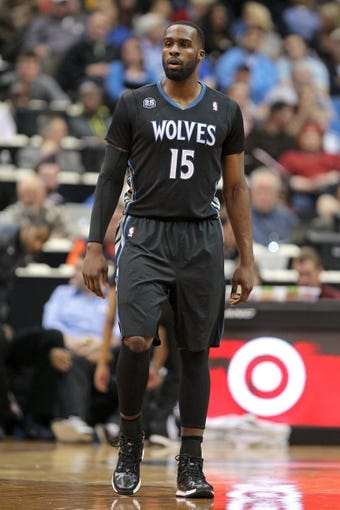 Nov 27, 2013; Minneapolis, MN, USA; Minnesota Timberwolves forward Shabazz Muhammad (15) against the Denver Nuggets at Target Center. The Nuggets defeated the Timberwolves 117-110. Mandatory Credit: Brace Hemmelgarn-USA TODAY Sports
