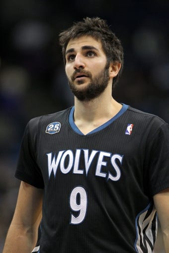 Nov 27, 2013; Minneapolis, MN, USA; Minnesota Timberwolves guard Ricky Rubio (9) against the Denver Nuggets at Target Center. The Nuggets defeated the Timberwolves 117-110. Mandatory Credit: Brace Hemmelgarn-USA TODAY Sports