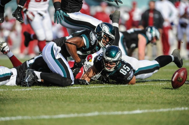 Dec 1, 2013; Philadelphia, PA, USA;  Philadelphia Eagles cornerback Brandon Boykin (22) tries to recover a fumble in the second quarter during the game against the Arizona Cardinals at Lincoln Financial Field. Mandatory Credit: John Geliebter-USA TODAY Sports