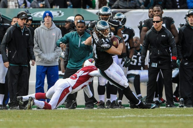 Dec 1, 2013; Philadelphia, PA, USA;  Philadelphia Eagles wide receiver Riley Cooper (14) makes a reception in the second quarter against te Arizona Cardinals at Lincoln Financial Field. Mandatory Credit: John Geliebter-USA TODAY Sports