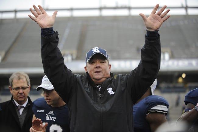 Dec 7, 2013; Houston, TX, USA; Rice Owls head coach David Bailiff reacts after defeating the Marshall Thundering Herd during the second half of the Conference USA championship game at Rice Stadium. Rice beat Marshall 41-24. Mandatory Credit: Brendan Maloney-USA TODAY Sports