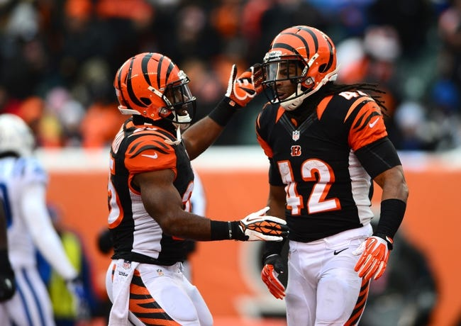 Dec 8, 2013; Cincinnati, OH, USA; Cincinnati Bengals running back Gio Bernard (25) celebrates with running back BenJarvus Green-Ellis (42) after scoring a touchdown during the fourth quarter at Paul Brown Stadium. Mandatory Credit: Andrew Weber-USA TODAY Sports