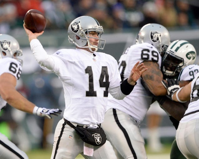 Dec 8, 2013; East Rutherford, NJ, USA; Oakland Raiders quarterback Matt McGloin throws a pass against the New York Jets during the game at MetLife Stadium. Mandatory Credit: Robert Deutsch-USA TODAY Sports