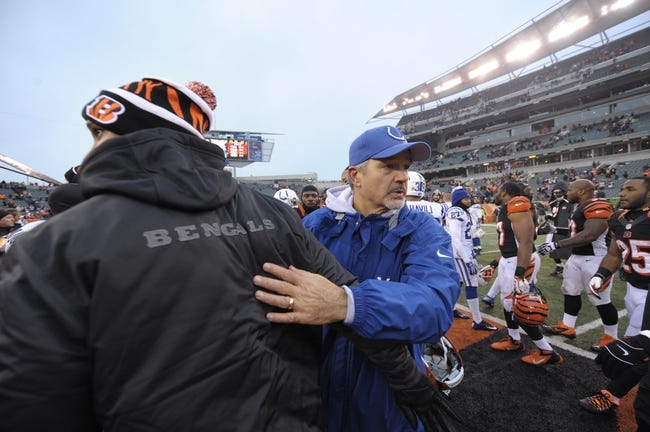 Dec 8, 2013; Cincinnati, OH, USA; Indianapolis Colts head coach Chuck Pagano congratulates the Cincinnati Bengals after the game at Paul Brown Stadium. Cincinnati Bengals beat Indianapolis Colts 42-28 Mandatory Credit: Marc Lebryk-USA TODAY Sports