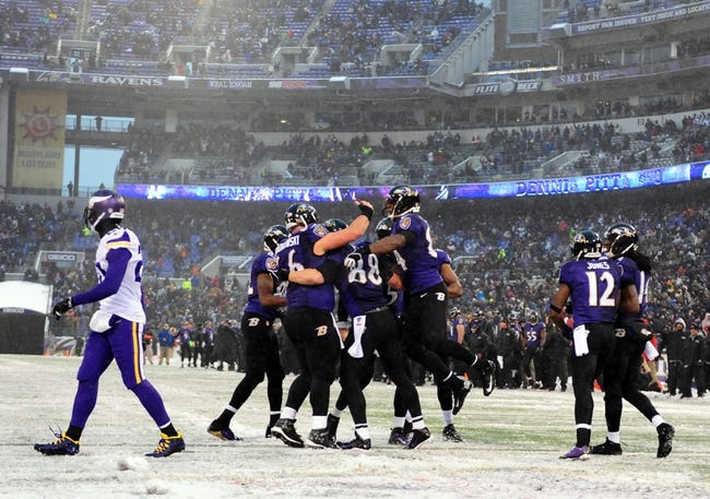 Dec 8, 2013; Baltimore, MD, USA; Baltimore Ravens players celebrate after tight end Dennis Pitta (88) scores a touchdown in the fourth quarter against the Minnesota Vikings at M&T Bank Stadium. Mandatory Credit: Evan Habeeb-USA TODAY Sports