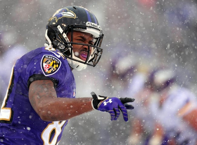 Dec 8, 2013; Baltimore, MD, USA; Baltimore Ravens wide receiver Torrey Smith (82) looks on during the game against the Minnesota Vikings at M&T Bank Stadium. Mandatory Credit: Evan Habeeb-USA TODAY Sports