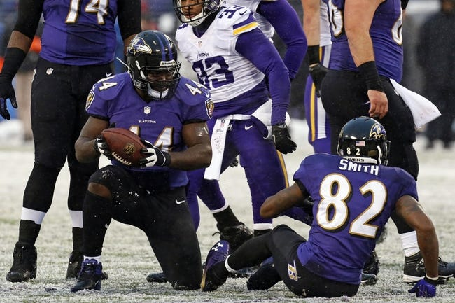 Dec 8, 2013; Baltimore, MD, USA; Baltimore Ravens fullback Vonta Leach (44) reacts after a failed fourth down play against the Minnesota Vikings at M&T Bank Stadium. Mandatory Credit: Mitch Stringer-USA TODAY Sports