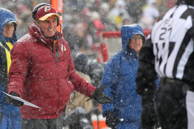 Dec 8, 2013; Landover, MD, USA; Washington Redskins head coach Mike Shanahan gestures from the sidelines during the second quarter against the Kansas City Chiefs at FedEx Field. The Chiefs won 45-10. Mandatory Credit: Geoff Burke-USA TODAY Sports