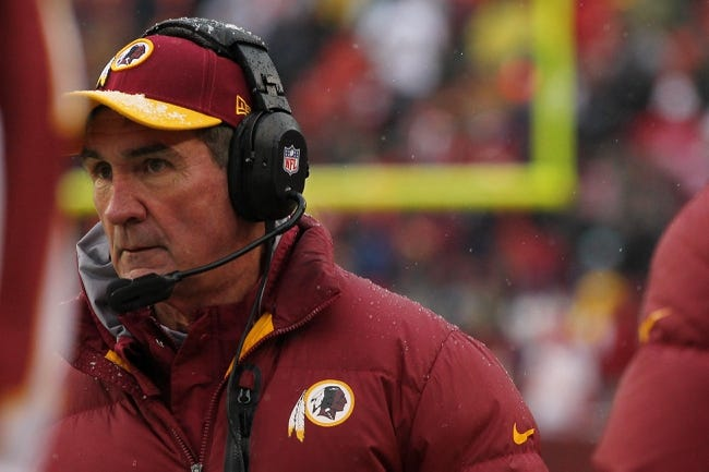 Dec 8, 2013; Landover, MD, USA; Washington Redskins head coach Mike Shanahan watches from the sidelines in the second quarter against the Kansas City Chiefs at FedEx Field. The Chiefs won 45-10. Mandatory Credit: Geoff Burke-USA TODAY Sports