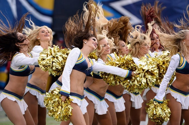 Dec 8, 2013; San Diego, CA, USA; San Diego Chargers cheerleaders perform during a timeout against the New York Giants at Qualcomm Stadium. Mandatory Credit: Robert Hanashiro-USA TODAY Sports