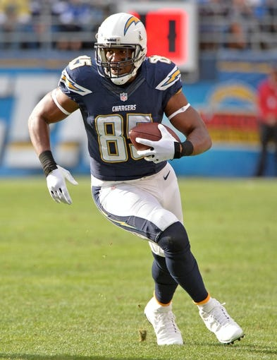 Dec 8, 2013; San Diego, CA, USA; San Diego Chargers tight end Antonio Gates (85) runs up field on a first half pass play during the Chargers win over the New York Giants with at Qualcomm Stadium. Gates had four catches for 50 yards. Mandatory Credit: Robert Hanashiro-USA TODAY Sports