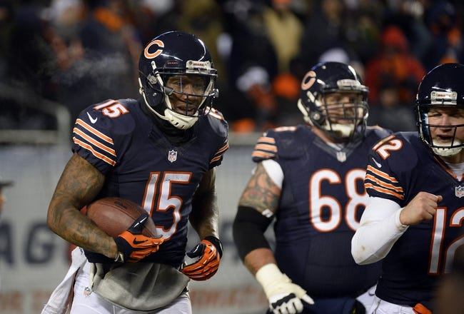 Dec 9, 2013; Chicago, IL, USA; Chicago Bears wide receiver Brandon Marshall (15) reacts after catching a two point conversion against the Dallas Cowboys during the fourth quarter at Soldier Field. Mandatory Credit: Mike DiNovo-USA TODAY Sports