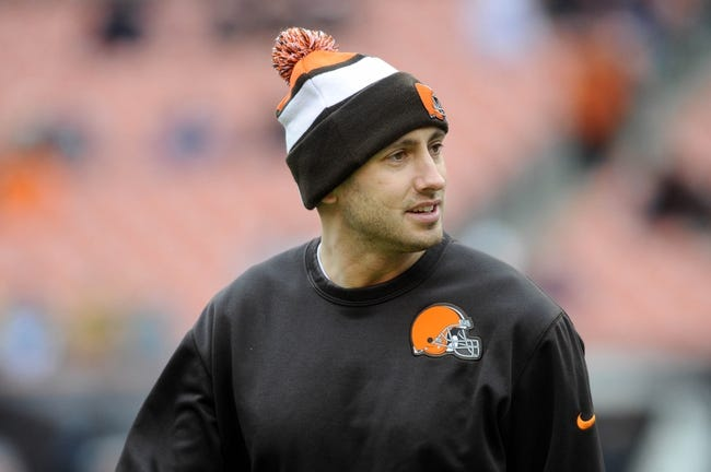 Dec 1, 2013; Cleveland, OH, USA; Cleveland Browns quarterback Brian Hoyer (6) before the game against the Jacksonville Jaguars at FirstEnergy Stadium. Mandatory Credit: Ken Blaze-USA TODAY Sports