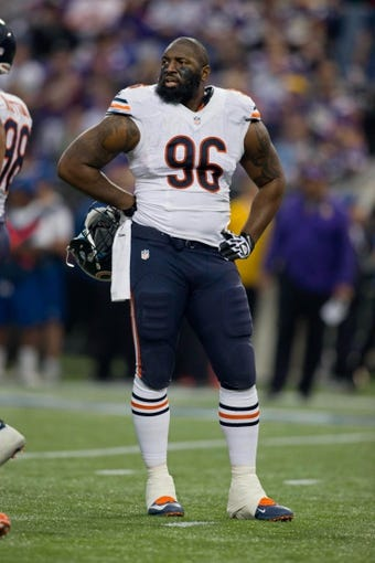 Dec 1, 2013; Minneapolis, MN, USA; Chicago Bears defensive tackle Jay Ratliff (96) rests during a timeout in the first quarter of the game with the Minnesota Vikings at Mall of America Field at H.H.H. Metrodome. Vikings win 23-20 in overtime. Mandatory Credit: Bruce Kluckhohn-USA TODAY Sports