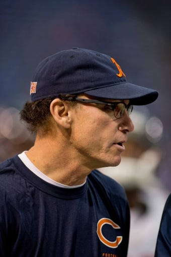 Dec 1, 2013; Minneapolis, MN, USA; Chicago Bears head coach Marc Trestman leaves the field with  his team before the game with the Minnesota Vikings at Mall of America Field at H.H.H. Metrodome. Vikings win 23-20 in overtime. Mandatory Credit: Bruce Kluckhohn-USA TODAY Sports