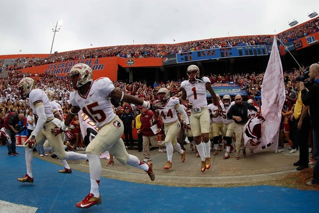 Nov 30, 2013; Gainesville, FL, USA; Florida State Seminoles defensive end Mario Edwards Jr. (15) and teammates run out onto the field before the game against the Florida Gators during the first quarter at Ben Hill Griffin Stadium. Mandatory Credit: Kim Klement-USA TODAY Sports