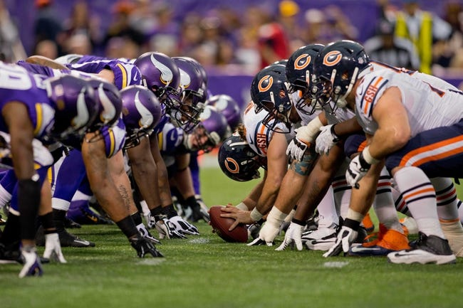Dec 1, 2013; Minneapolis, MN, USA; The Minnesota Vikings line up against the Chicago Bears for a point after touchdown attempt in the third quarter at Mall of America Field at H.H.H. Metrodome. Vikings win 23-20 in overtime. Mandatory Credit: Bruce Kluckhohn-USA TODAY Sports