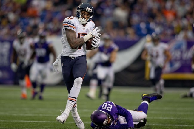 Dec 1, 2013; Minneapolis, MN, USA; Chicago Bears wide receiver Alshon Jeffery (17) beats Minnesota Vikings cornerback Chris Cook (20) for an 80 yard touchdown catch in the third quarter at Mall of America Field at H.H.H. Metrodome. Vikings win 23-20 in overtime. Mandatory Credit: Bruce Kluckhohn-USA TODAY Sports