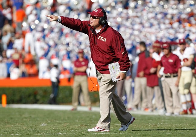 Nov 30, 2013; Gainesville, FL, USA; Florida State Seminoles head coach Jimbo Fisher against the Florida Gators during the second half at Ben Hill Griffin Stadium. Florida State Seminoles defeated the Florida Gators 37-7. Mandatory Credit: Kim Klement-USA TODAY Sports
