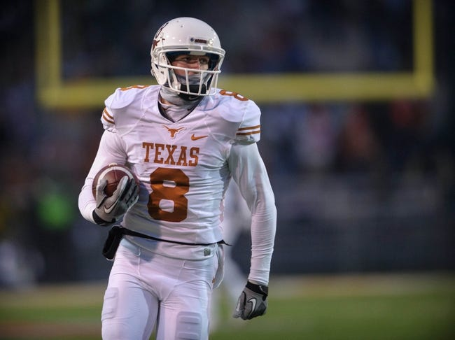 Dec 7, 2013; Waco, TX, USA; Texas Longhorns wide receiver Jaxon Shipley (8) during the game against the Baylor Bears at Floyd Casey Stadium. The Baylor Bears defeated the Texas Longhorns 30-10 to win the Big 12 championship. Mandatory Credit: Jerome Miron-USA TODAY Sports
