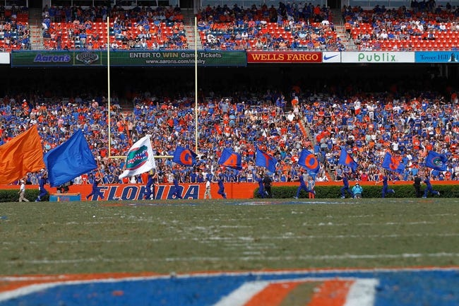Nov 9, 2013; Gainesville, FL, USA; Florida Gators cheerleaders run across the field with flags against the Vanderbilt Commodores during the second quarter at Ben Hill Griffin Stadium. Mandatory Credit: Kim Klement-USA TODAY Sports