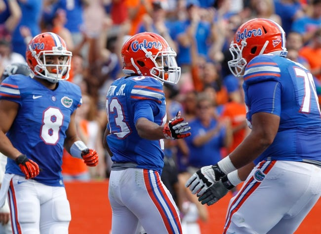 Nov 23, 2013; Gainesville, FL, USA; Florida Gators wide receiver Solomon Patton (83) reacts after he scored a touchdown against the Georgia Southern Eagles during the second quarter at Ben Hill Griffin Stadium. Mandatory Credit: Kim Klement-USA TODAY Sports