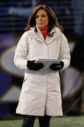 Nov 28, 2013; Baltimore, MD, USA; NFL announcer Michele Tafoya reporting prior to the Pittsburgh Steelers game against the Baltimore Ravens on Thanksgiving at M&T Bank Stadium. Mandatory Credit: Mitch Stringer-USA TODAY Sports