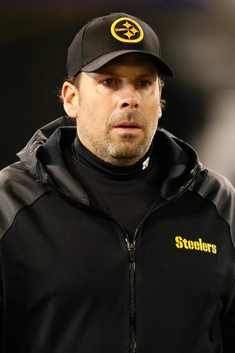 Nov 28, 2013; Baltimore, MD, USA; Pittsburgh Steelers offensive coordinator Todd Haley prior to the game against the Baltimore Ravens on Thanksgiving at M&T Bank Stadium. Mandatory Credit: Mitch Stringer-USA TODAY Sports