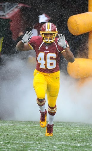 Dec 8, 2013; Landover, MD, USA; Washington Redskins running back Alfred Morris (46) on the field before the game against the Kansas City Chiefs at FedEx Field. Mandatory Credit: Brad Mills-USA TODAY Sports