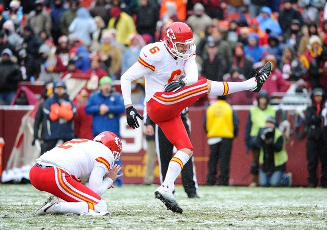 Dec 8, 2013; Landover, MD, USA; Kansas City Chiefs place kicker Ryan Succop (6) attempts a kick against the Washington Redskins during the second quarter at FedEx Field. Mandatory Credit: Brad Mills-USA TODAY Sports
