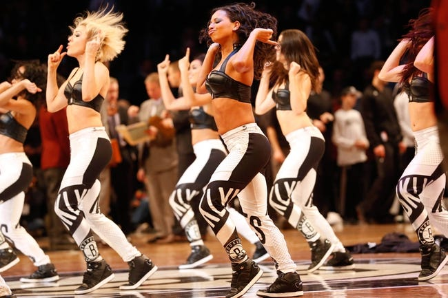 Dec 12, 2013; Brooklyn, NY, USA;  Brooklyn Nets dan at Barclays Center. Brooklynettes perform during the fourthquarter against the Los Angeles Clippers won 102-93.  Mandatory Credit: Anthony Gruppuso-USA TODAY Sports