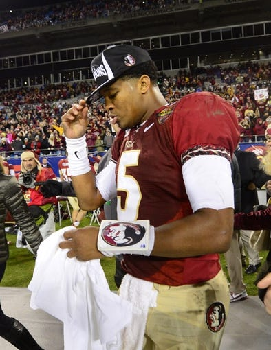 Dec 7, 2013; Charlotte, NC, USA; Florida State Seminoles quarterback Jameis Winston (5) after the game. The Seminoles defeated the Blue Devils 45-7 at Bank of America Stadium. Mandatory Credit: Bob Donnan-USA TODAY Sports