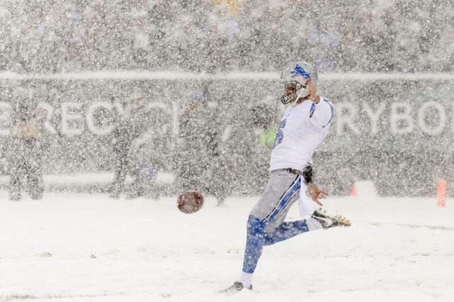 Dec 8, 2013; Philadelphia, PA, USA; Detroit Lions punter Sam Martin (6) punts during the first quarter against the Philadelphia Eagles at Lincoln Financial Field. The Eagles defeated the Lions 34-20. Mandatory Credit: Howard Smith-USA TODAY Sports