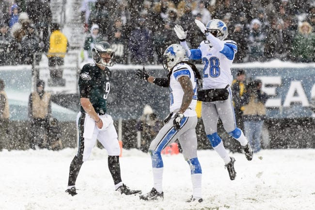 Dec 8, 2013; Philadelphia, PA, USA; Detroit Lions safety Louis Delmas (26) and cornerback Bill Bentley (28) celebrate making a play during the third quarter against the Philadelphia Eagles at Lincoln Financial Field. The Eagles defeated the Lions 34-20. Mandatory Credit: Howard Smith-USA TODAY Sports