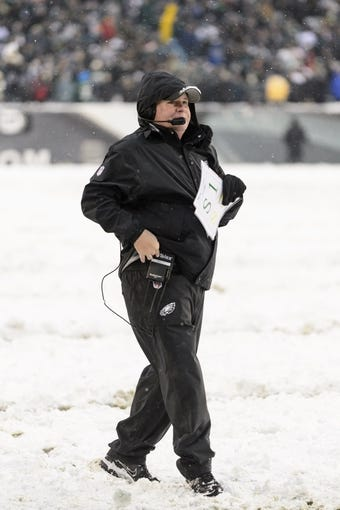 Dec 8, 2013; Philadelphia, PA, USA; Philadelphia Eagles head coach Chip Kelly along the sidelines during the fourth quarter against the Detroit Lions at Lincoln Financial Field. The Eagles defeated the Lions 34-20. Mandatory Credit: Howard Smith-USA TODAY Sports