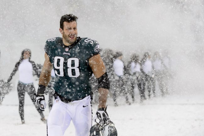 Dec 8, 2013; Philadelphia, PA, USA; Philadelphia Eagles linebacker Connor Barwin (98) enters the field prior to playing the Detroit Lions at Lincoln Financial Field. The Eagles defeated the Lions 34-20. Mandatory Credit: Howard Smith-USA TODAY Sports