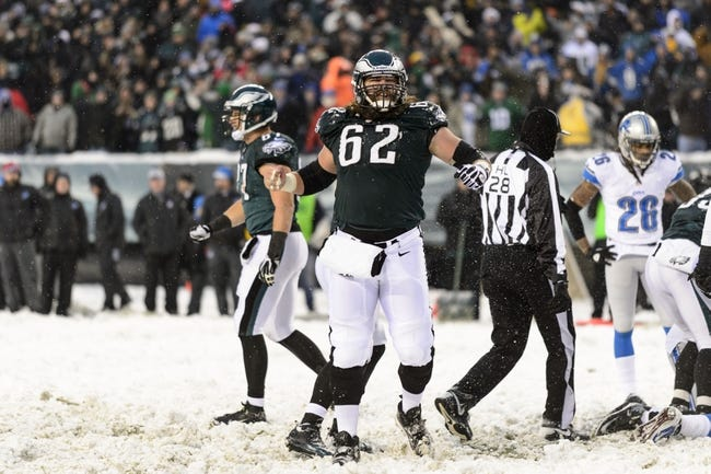 Dec 8, 2013; Philadelphia, PA, USA; Philadelphia Eagles center Jason Kelce (62) celebrates a quarterback sneak for a touchdown during the fourth quarter against the Detroit Lions at Lincoln Financial Field. The Eagles defeated the Lions 34-20. Mandatory Credit: Howard Smith-USA TODAY Sports