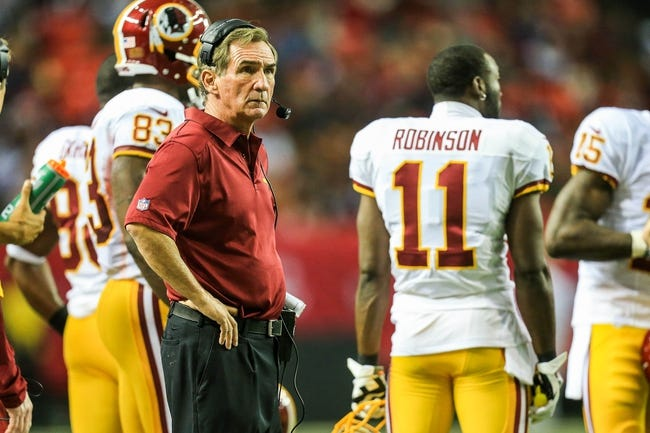 Dec 15, 2013; Atlanta, GA, USA; Washington Redskins head coach Mike Shanahan on the sidelines in the second half against the Atlanta Falcons at the Georgia Dome. The Falcons won 27-26. Mandatory Credit: Daniel Shirey-USA TODAY Sports