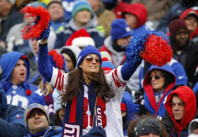 Dec 15, 2013; East Rutherford, NJ, USA;  New York Giants fan tries to rally the team during the game against the Seattle Seahawks at MetLife Stadium. Mandatory Credit: Jim O'Connor-USA TODAY Sports