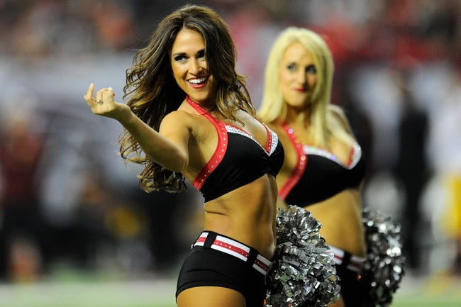 Dec 15, 2013; Atlanta, GA, USA; Atlanta Falcons cheerleaders perform during the game against the Washington Redskins during the second half at the Georgia Dome. The Falcons defeated the Redskins 27-26. Mandatory Credit: Dale Zanine-USA TODAY Sports