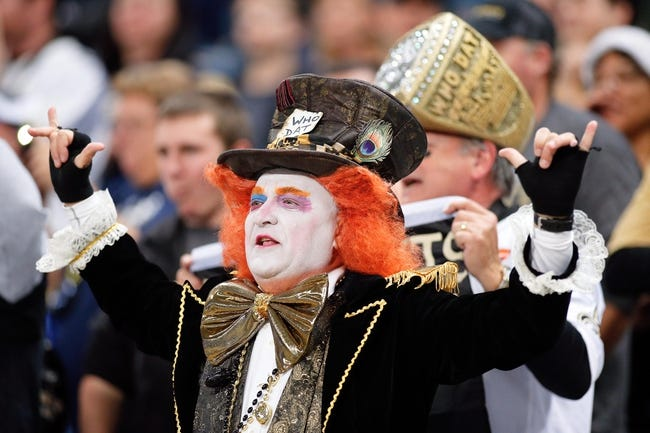Dec 15, 2013; St. Louis, MO, USA; A New Orleans Saints fan as seen during a game against the St. Louis Rams at the Edward Jones Dome. Mandatory Credit: Scott Kane-USA TODAY Sports
